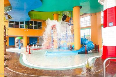 Take a dip in the resort's onsite pools, hot tub, lazy river, and kid play area!
