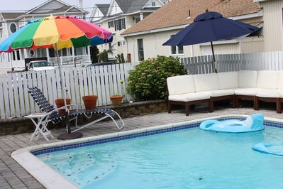 Pool area with outdoor cushions
