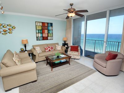 Photo for Gorgeous coastal condo ! Directly gulf-front! Free Wi-Fi. Minutes to Pier Park Shopping Center!