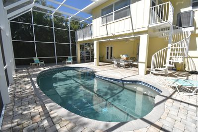 Pelican Perch has a large, private heated pool.