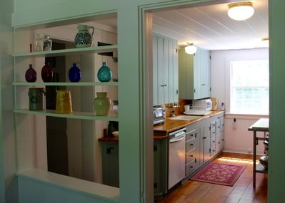 View of kitchen from entrance foyer.