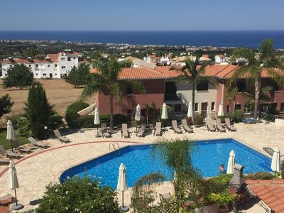 Photo for Penthouse with amazing sea view, terrace, pool, free Wi-Fi ,10 min from Paphos