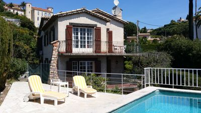 Photo for Sea view villa with pool and shaded garden, quiet location