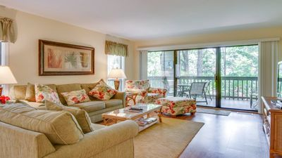 Photo for Sanitized for Your Safety and Free Tennis/Pickleball +Private Deck with Lagoon View 7813 Centre Court is a Real Value! Book Now! Centrally Located in Palmetto Dunes!
