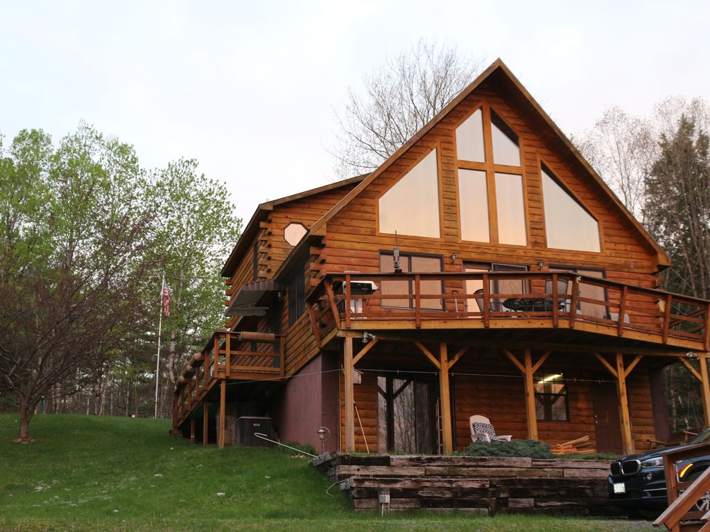 The lakes end beautiful lakefront log cabin in the white for New hampshire log cabins