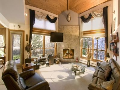 Photo for Luxury Trail Creek ski home + shuttle 2king & 3twin beds sauna hot tub end unit