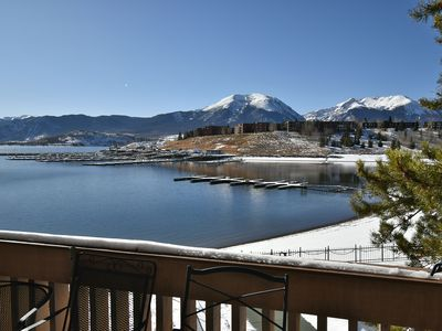 Photo for Lakefront-Top Floor, Amazing Views. Summer Pool.  Walk to Marina. Near Dining