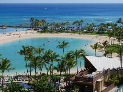 Actual photo from the lanai overlooks peaceful lagoon and the Pacific Ocean