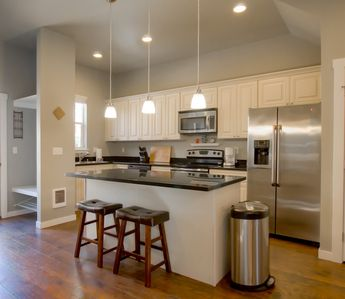 Large open kitchen with high top