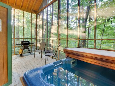 Photo for Romantic, secluded, & dog-friendly woodland cabin with hot tub!