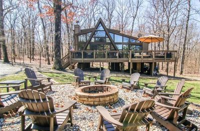 Photo for Rustic relaxing! 3 bedrooms, 2 fire pits and 2 docks with the perfect view!