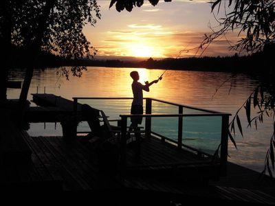Fishing is great off the deck or dock. Every sunset is exceptional !!