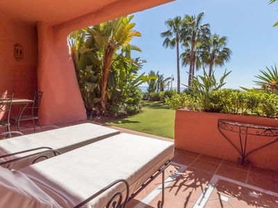 Photo for Frontline luxury ground floor apartment in Cabo Bermejo, Estepona
