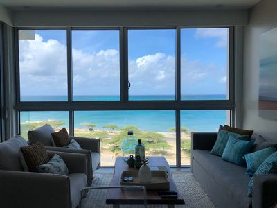 Photo for Aruba Luxury Beach Oceanfront residence at Azure steps to Eagle and Palm beach