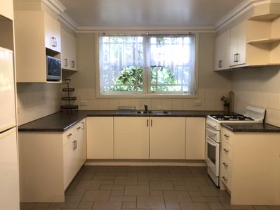 Fully equipped kitchen with everything needed to cook.