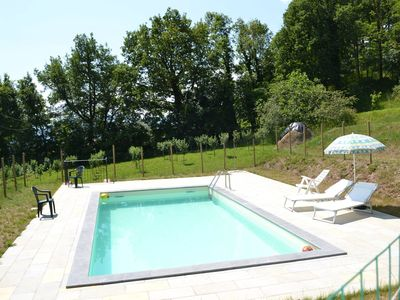 Photo for Lovely farmhouse for 7 adults + 4 kids, sunny garden, terrace, pool, Golf nearby