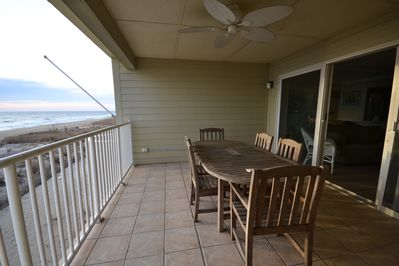 Teak table & chairs for relaxing on the oceanfront deck! Top floor=no dune view!