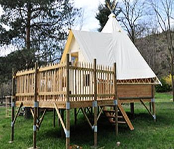 Photo for Camping du Viaduc ** - Tent Lodge Tipi 4 People