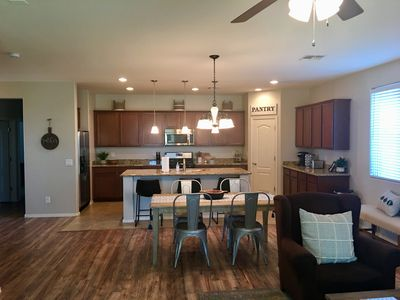 Open kitchen and family room area.