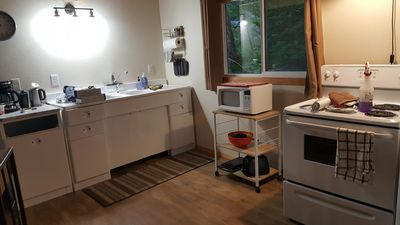 Refurbished metal cabinets bring a retro charm to the kitchen