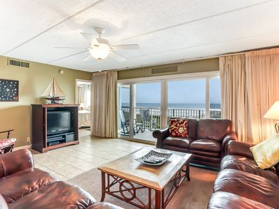 Photo for 3rd Floor 3 Bed/2 Bath Oceanfront condo sleeps 8.   W/D, pool, tennis and private fishing pier!