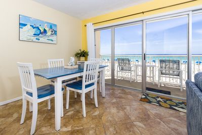 Dining Area - Beautiful tile flooring and the gorgeous view makes eating in just as much fun as dining out!