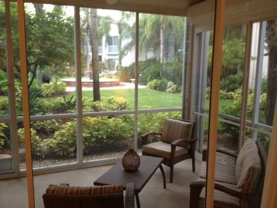 "View from private Lanai (Neapolitan for ""screened in patio"")!"
