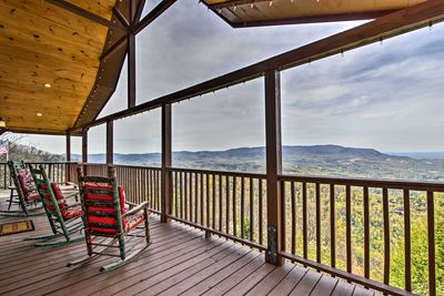 This 4-bedroom, 3-bath home boasts a wraparound deck with Smoky Mountain views.
