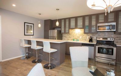 open kitchen with bar