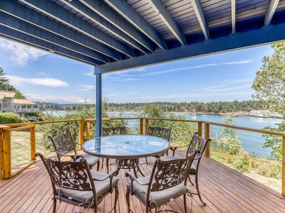 Photo for Spacious, waterfront home w/ 2 decks overlooking the bay and marina