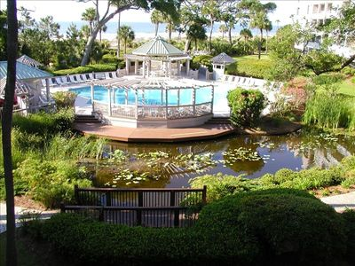 The pond below the patio, the pool, the beach, the ocean, and  beyond!