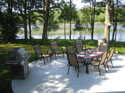 Enjoy grilling and dining with a lake view.