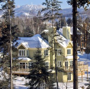 Our ski chalet with Mont Tremblant in the background.