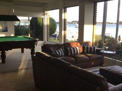 Lower level billiard lounge.Comfy leather lounges to enjoy the views.