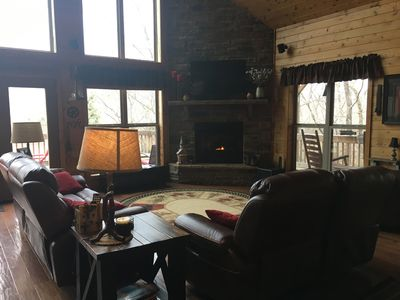 Photo for Gorgeous Secluded Mountain View Cabin with hot tub and wrap around porch