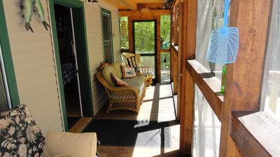 Left side of screened in porch.
