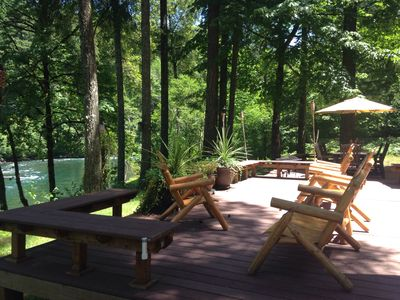 Photo for Beautiful Riverfront Lodge-Style Home/Rafts, Kayaks/Fishing/Golf/Hiking/Biking