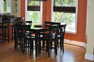 Dining room table perfect for group meals and games!