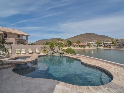 Photo for New! Lakefront Oasis with private pool/spa, boat and gorgeous views!