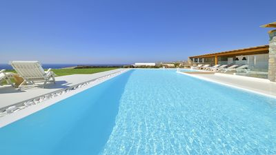 Photo for Stylish & Contemporary Villa with Private Pool, Stunning Panoramic Sea Views close to Elia Beach