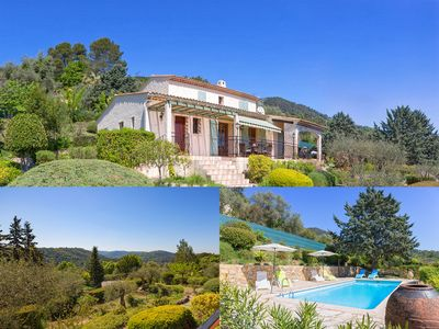 Photo for Cote d'Azur; air-conditioned villa with pool, superb view on 2000sqm property