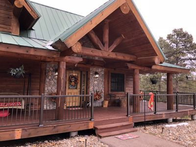 Photo for Antler Lodge - Log cabin close to Deadwood with private hot tub and paved roads.