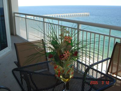 View of the pier, beach and Gulf from balcony