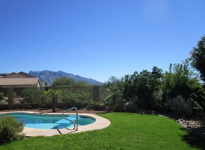 Beautiful views of the Catalina mountains from the spacious backyard.