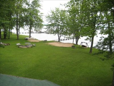 Beachfront, dock and firepit are all in the common area next to the cottage.