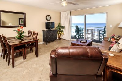 Gulf front living room of Unit 410 - Offering incredible views daily, just open the curtains!