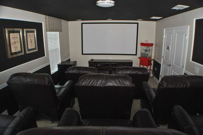 Theater Room - Stadium Leather seating, not your ordinary theater chairs these are actual recliners for maximum comfort.  100 inch screen and surround speakers in ceiling. PlayStation 4, The finest home theater in this resort
