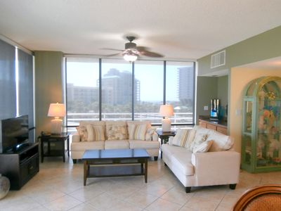 Photo for Large corner three bedroom with great view of island thru floor to ceiling glass