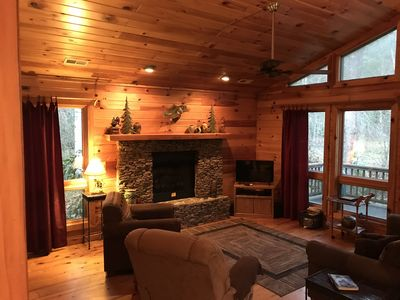 Enjoy the stone fireplace in cooler weather