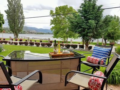 Enjoy mountain and lake views from the patio, equipped with natural gas barbeque
